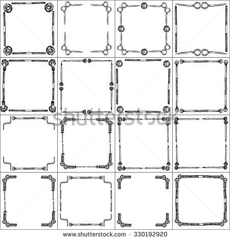 frames_set_of_hand_drawn_fastener_elements_vector