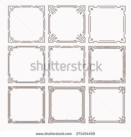 set_of_9_stylish_rich_decorated_square_decorative_frames_in_mono_line_style_with_rounded_corners