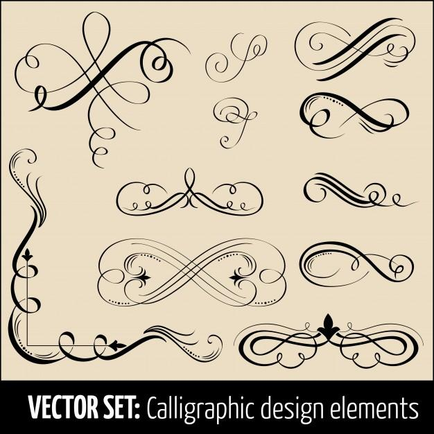 vector_set_of_calligraphic_and_page_decoration_design_elements_elegant_elements_for_your_design