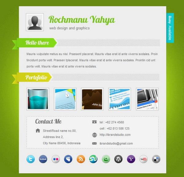 20 vcard csshtml website templates