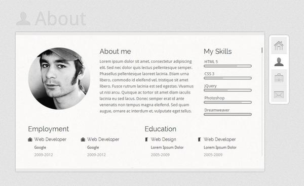 20 Free And Premium Vcard / Cv Web Templates - Xdesigns