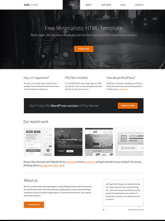 Download 50 free csshtml business website templates xdesigns nina minimalist business portfolio template wajeb Gallery