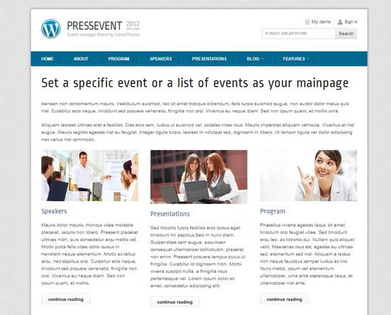 1 pressevent event management theme