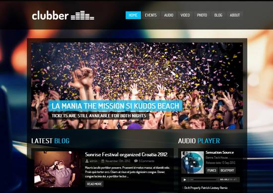 2 clubber events music wordpress theme