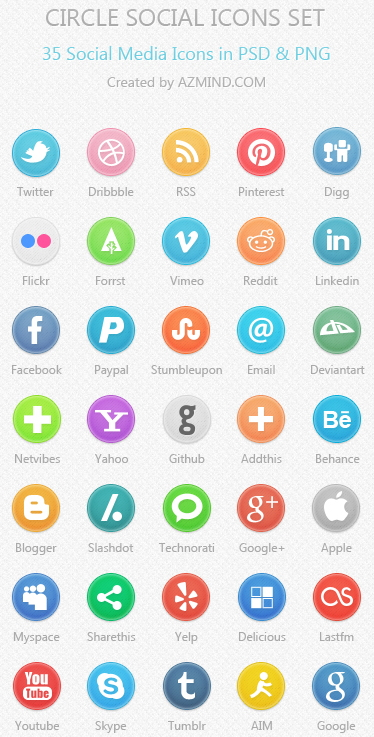 Download 35 Free Circle Social Media Icons