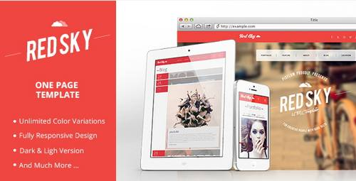 18 red sky one page template