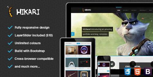 26 hikari premium portfolio and blog template