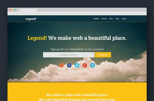 62 legend free responsive one page template