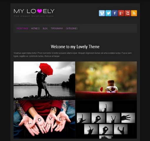 my lovely free black wordpress theme