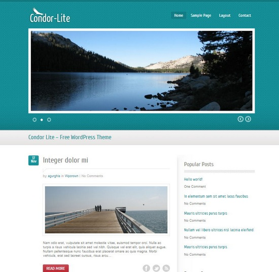 Free minimalist wordpress blog theme condor lite xdesigns for Minimalist homepage