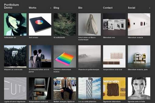 Portfolium free grid-based theme
