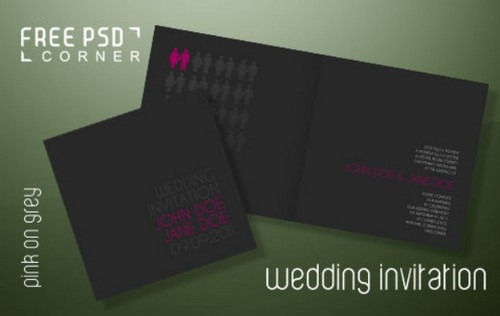 Download 8 free wedding invitations template in psd xdesigns wedding invitation pink on grey stopboris Images