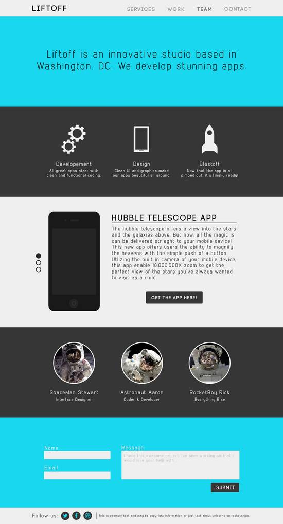 free app psd website template flat liftoff xdesigns