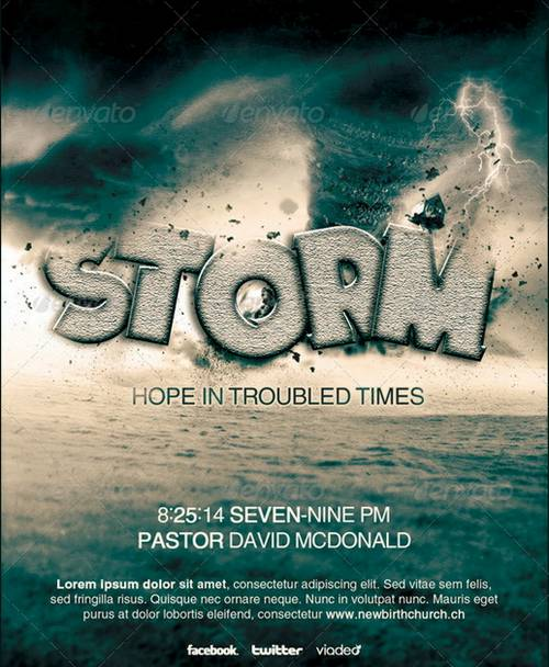 gospel concerts pageants musical events and sermons storm church flyer template