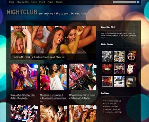 Nightclub vibrant WordPress theme