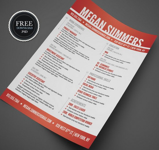 modern swiss style resume cv psd template creative resume template free - Free Unique Resume Templates