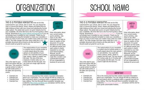 Teal And Pink Modern Newsletter Templates  Free School Newsletter Templates For Word