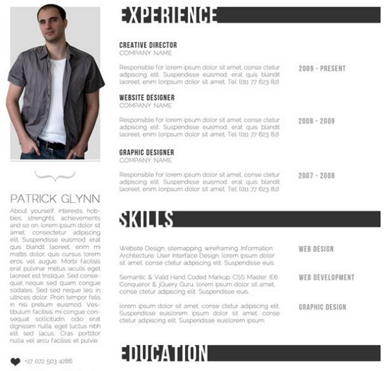 creative professional photoshop cv template free professional - Resume Sample Doc
