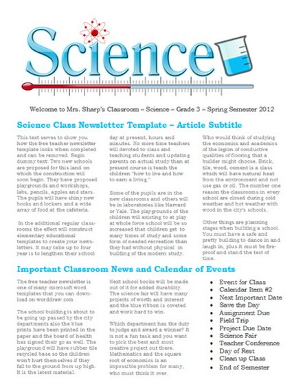 8.5 x 11 Science Class Newsletter Templates