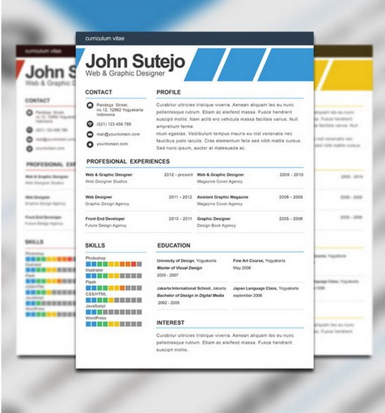free elegante one page resume template - Graphic Resume Templates Free