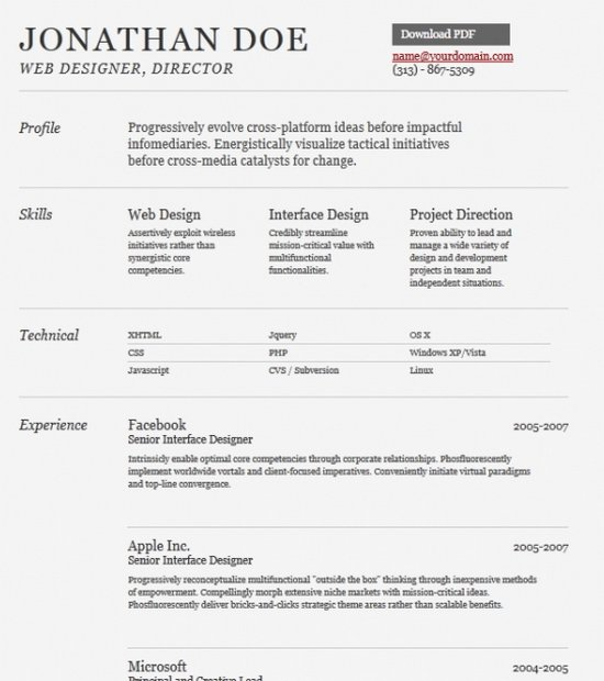 free gray sample resume template - Free Download Resume Format In Word