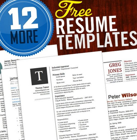 12 free templates for your job resume - Visual Resume Samples Doc