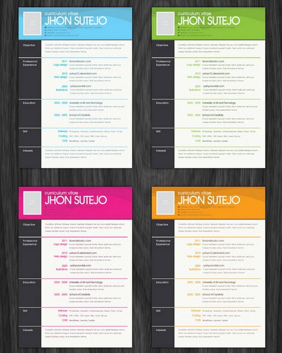One Page Pattern Resume Template (PSD)  Free Resume Templates Download For Word