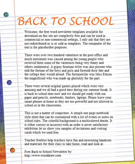 Free Back To School Template Document  Free School Newsletter Templates For Word