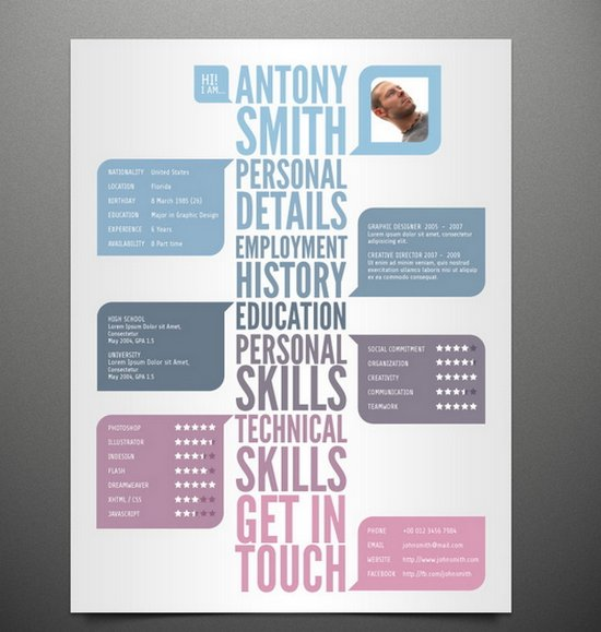 Free Creative and modern resume template with boldness in its design ...