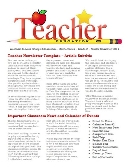 Free Classic education Teacher Newsletter Templates
