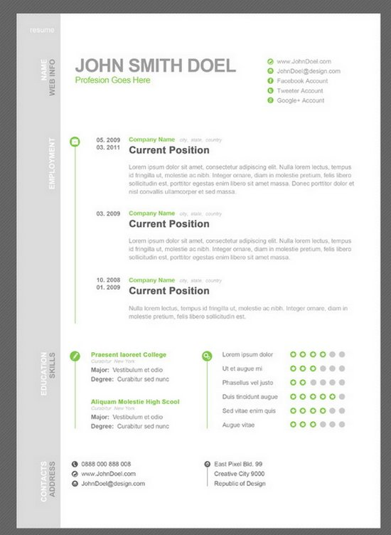 cv resume free psd template - Cv Resume Sample