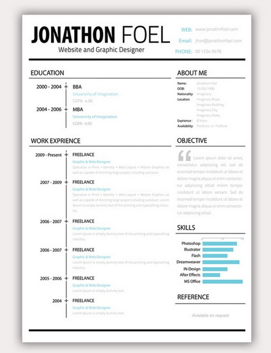 minimalistic psd resume set - Creative Resume Template Download Free