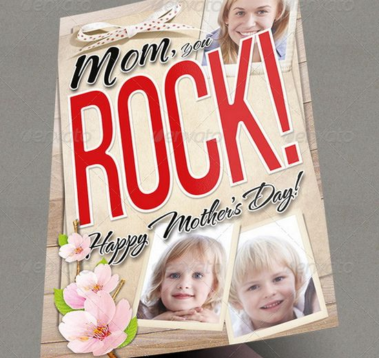 Greeting Card - Mom you Rock!