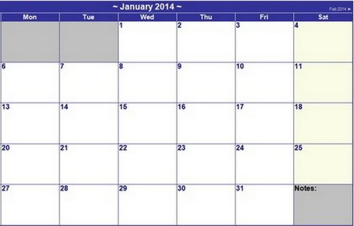 Basic Design 2014 Yearly Calendar Template