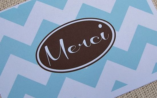 "Printable ""Merci"" Thank You Note Card"
