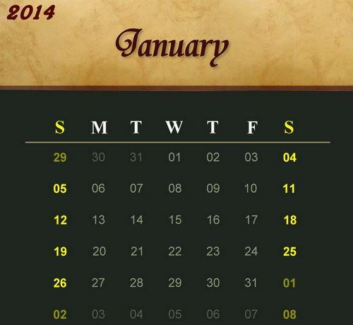 Calendar Templates (2014) Set 2