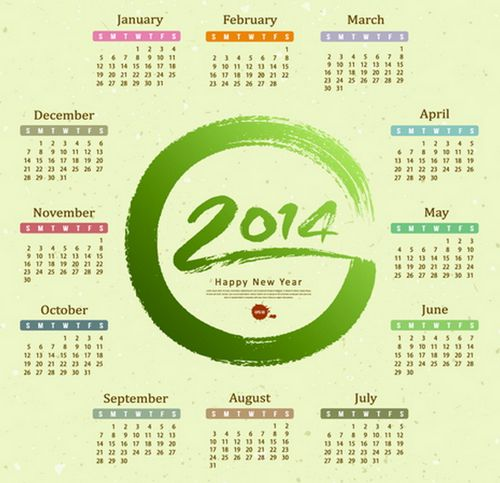 2014 calendar vector graphics