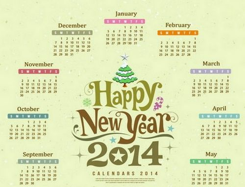 Circle Vector 2014 Yearly Calendar Template