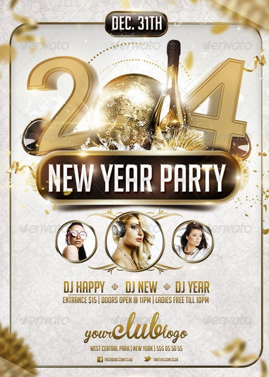20 stunning happy new year flyer print templates 2014 edition