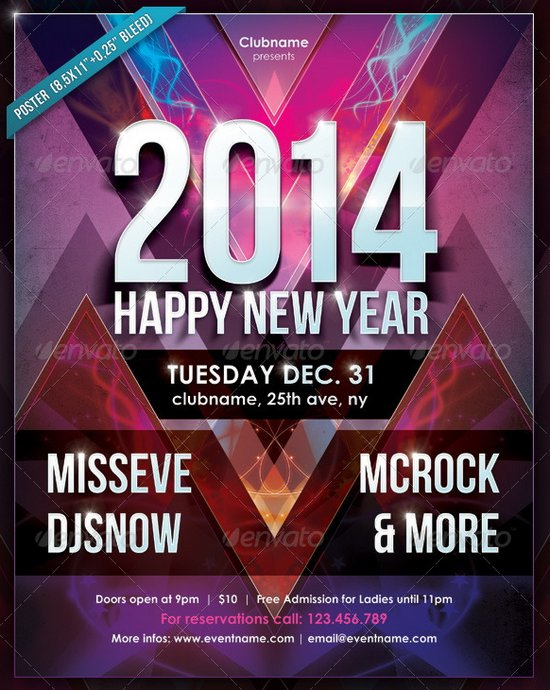20 Stunning Happy New Year Flyer Print Templates 2014 Edition – New Year Poster Template