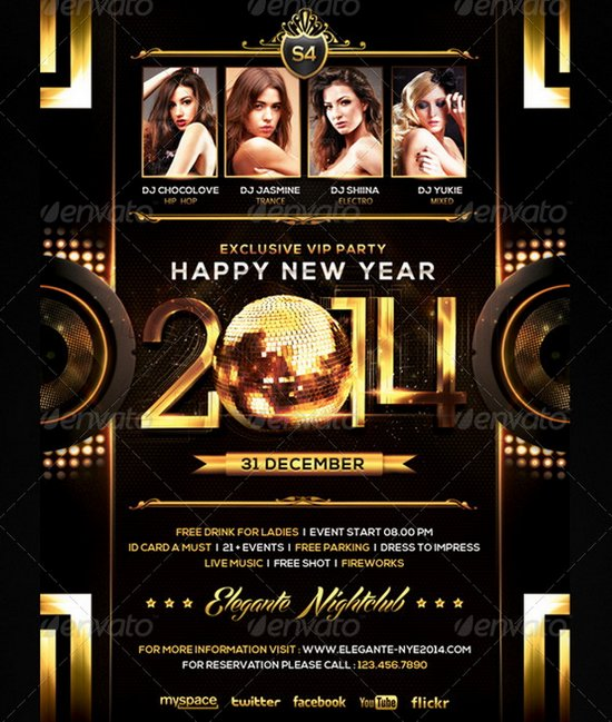 Flyer New Year Templates  Merry Christmas And Happy New Year