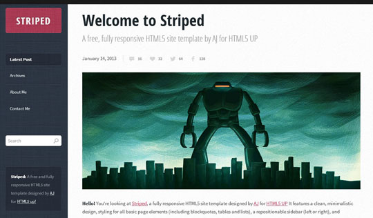 Download Free Striped HTML5 Website Template