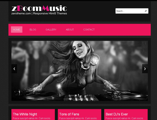 Download Free zBoomMusic HTML5 Website Template