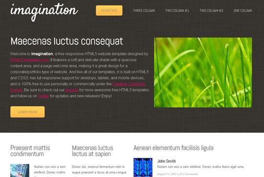 Download Free Imagination HTML5 Website Template