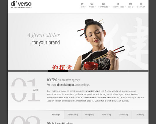 Download Free Di'Verso HTML5 Website Template