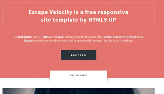 Download Free Escape Velocity HTML5 Website Template