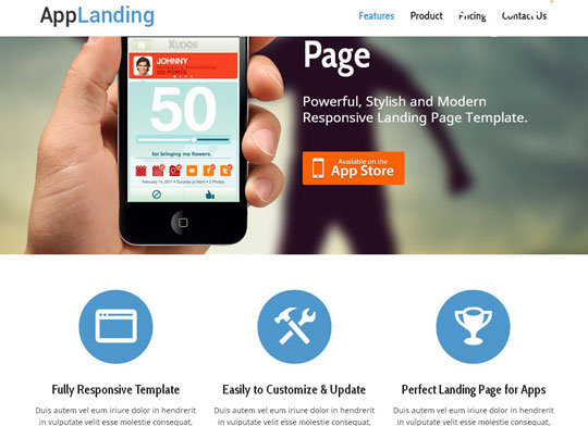 Download Free Retina Ready Responsive App Landing Page HTML5 Website Template