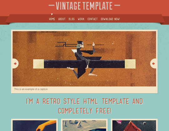 Download Free Vintage HTML5 Website Template