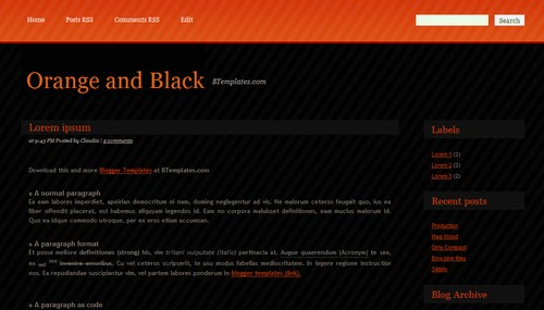 Free Orange and Black Responsive Blogger Template
