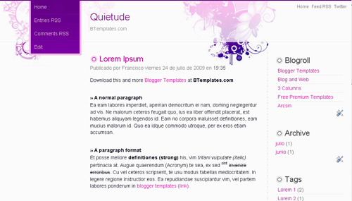 Free Quietude Responsive Blogger Template